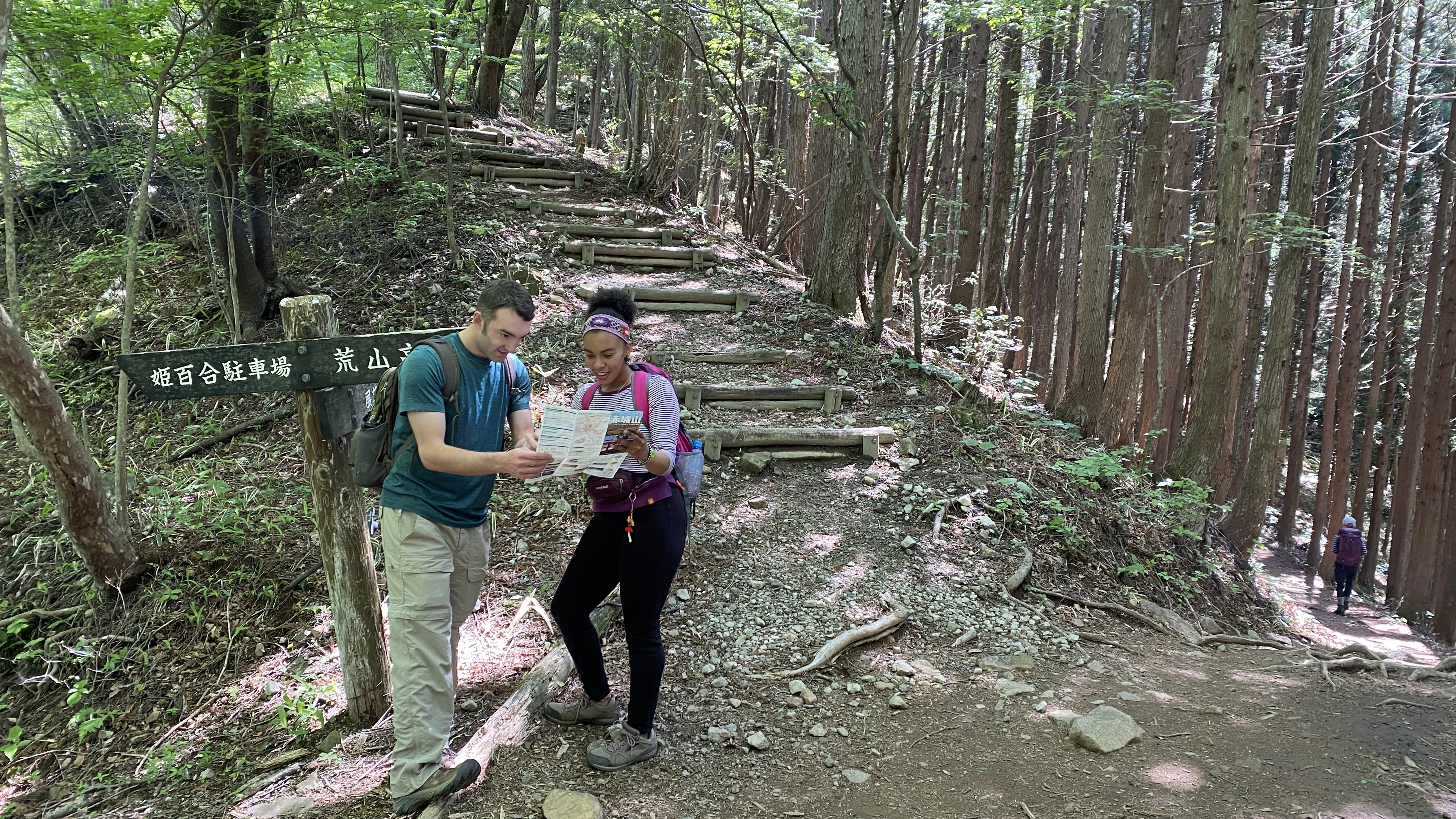 Two hikers looking at a trail map